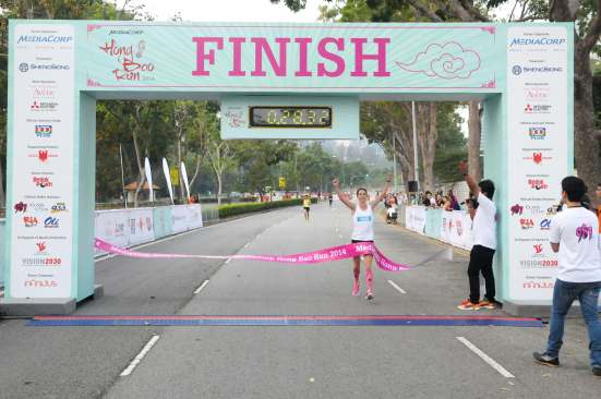 Suzy Walsham was the first female to cross the finishing line at the MediaCorp Hong Bao Run
